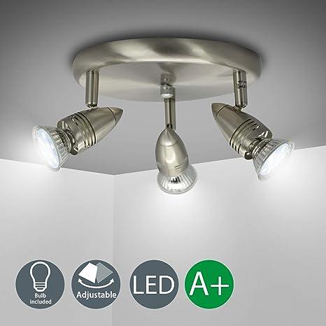 LED Deckenlampe GU10 Deckenleuchte rund 3-flammig Spot-Strahler Lampe Wohnzimmer