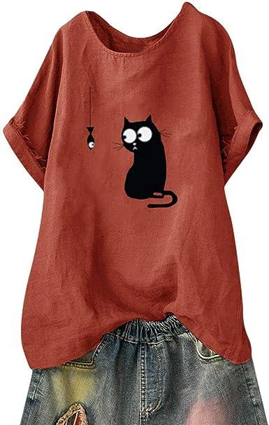 Camiseta de Manga Corta para Mujer, Talla Grande, Estampado de Gato, Cuello en V, Camisa Vintage Naranja L: Amazon.es: Ropa y accesorios