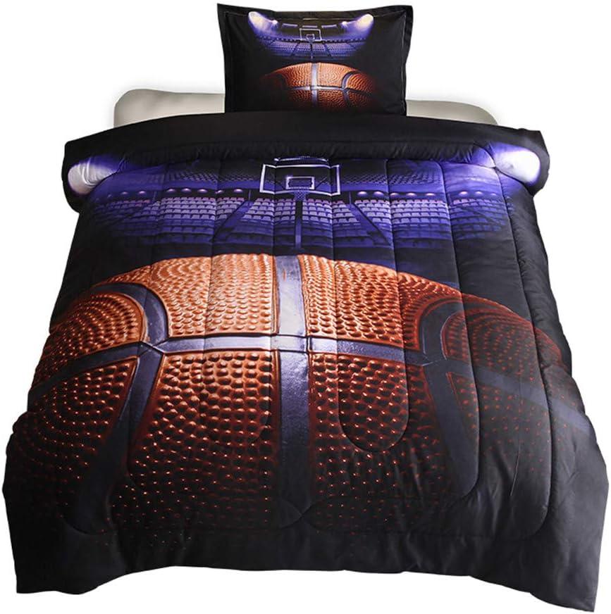 ,2PCS,1 Quilt+1 Pillow Sham 68x88 HTgroce 3D Basketball Court Comforter Quilt Set for Teen Boys Girls Twin Size