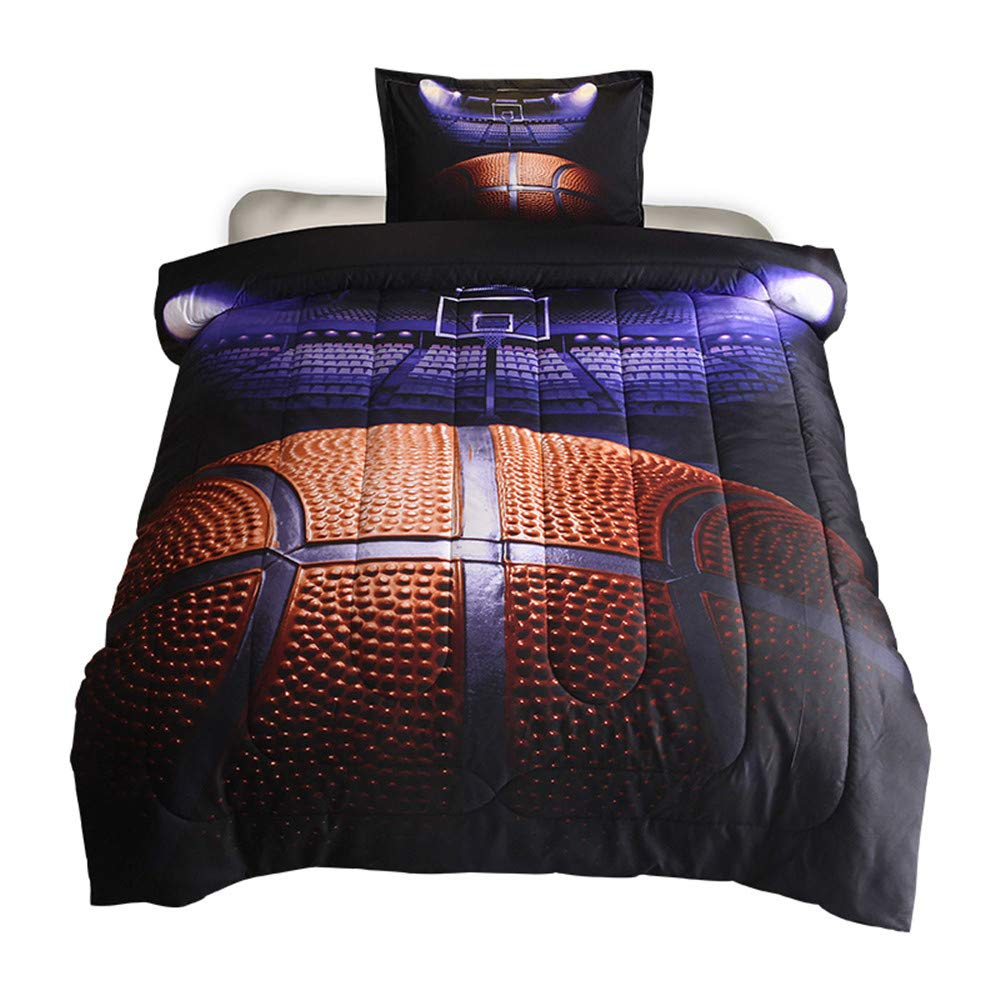 HTgroce 3D Basketball Court Comforter Quilt Set for Teen Boys Girls Twin Size(68''x88''),2PCS,1 Quilt+1 Pillow Sham by HTgroce
