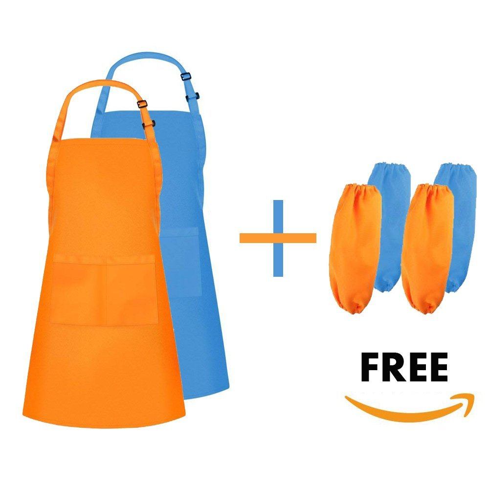 Dadidyc Kid Aprons for Painting Cooking Adjustable Apron with Pockets, Kid Apron art, Bib Aprons 2 Pack with Oversleeves for Art, DIY, Cooking 2 Pack