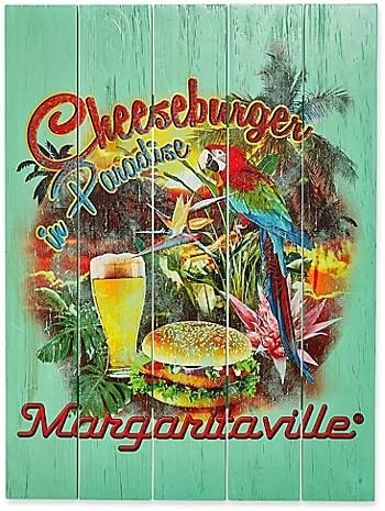 Margaritaville Wall Art Cheeseburger in Paradise Crafted of Pine Wood Great for Bringing an Island Feel to Your Patio, Deck Or Backyard