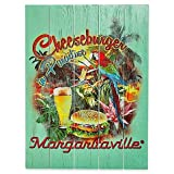 Wall Art Cheeseburger in Paradise Crafted Of Pine Wood Great For Bringing An Island Feel To Your Patio, Deck Or Backyard