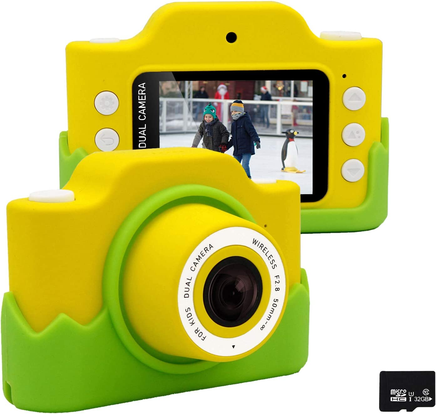 Gurmoir 24MP Kids WiFi Camera/Dual Children Camera HD 1080P Video Camcorder Camera 2.0 Inch Screen Anti-Shake Camera with Soft Case, Best Gifts for 3~12 Years Boys/Girls(with Phone APP)