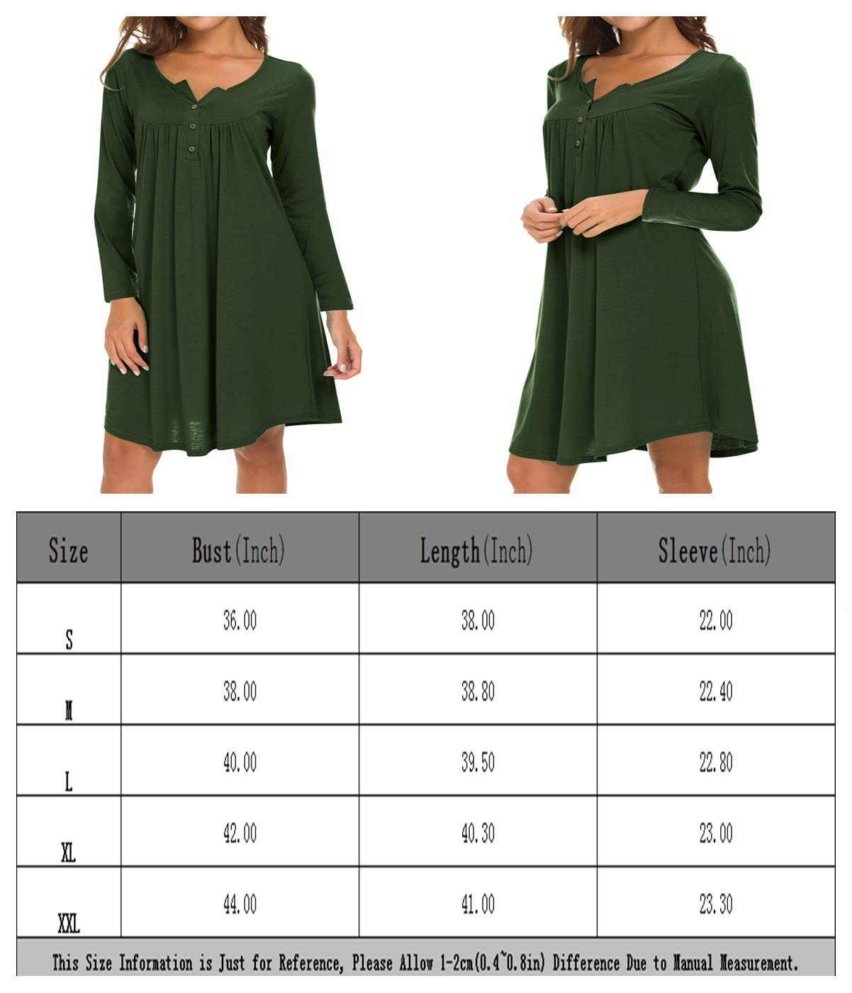 Eanklosco Long Sleeve Swing Dress Women Casual Loose Henley Shirt Dress (Army Green, S)