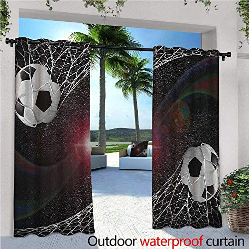 familytaste Teen Room Fashions Drape Soccer Balls Goal Match Success Concept in The Outer Space Winner Glory Theme Outdoor Curtain Waterproof Rustproof Grommet Drape W84 x L84 Multicolor