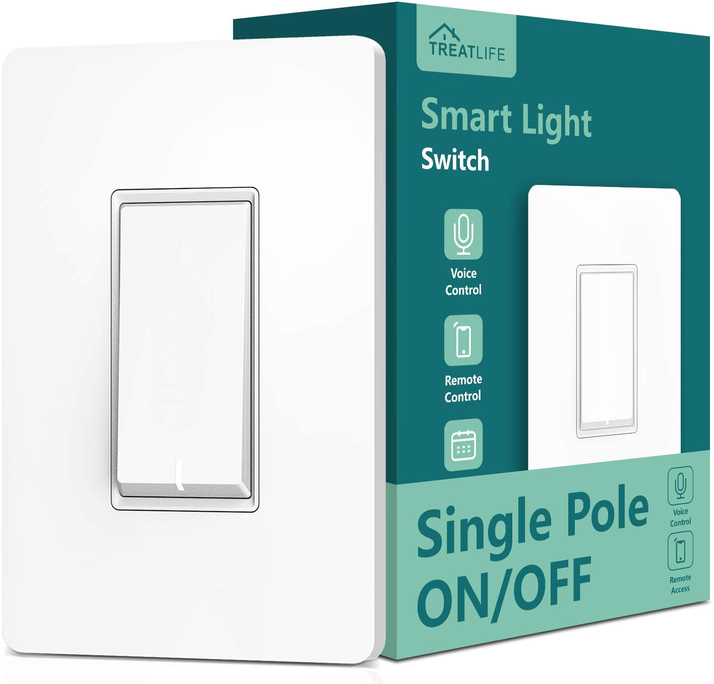 Single Pole Treatlife Smart Light Switch, Neutral Wire Required, 2.4Ghz Wi-Fi Light Switch, Works with Alexa and Google Assistant, Schedule, Remote Control, ETL Listed - -