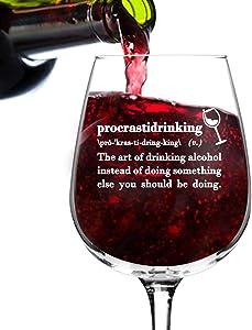 Procrastidrinking Funny Wine Glass Gifts for Women- Premium Birthday Gift for Her, Mom, Best Friend- Unique Present Idea