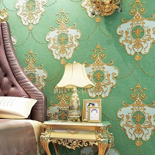 Blooming Wall: Non-woven French Elegant Lace Trellis Pattern Wallpaper, 20.8 In32.8 Ft=57 Sq Ft Per Roll,Vintage Green (605 Green)