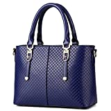 Handbags for Women/Girl Weitine Brand Hard/Strong/Water-Proof PU Leather Top Handle Satchel Tote Purse Blue