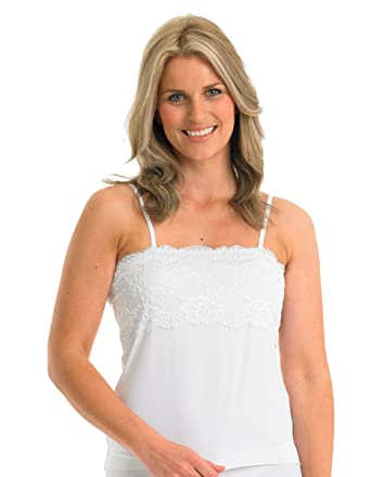 1ae7f731e7283c Slenderella Gaspe Microfibre White Lace Cami Top GL2715  Slenderella   Amazon.co.uk  Clothing