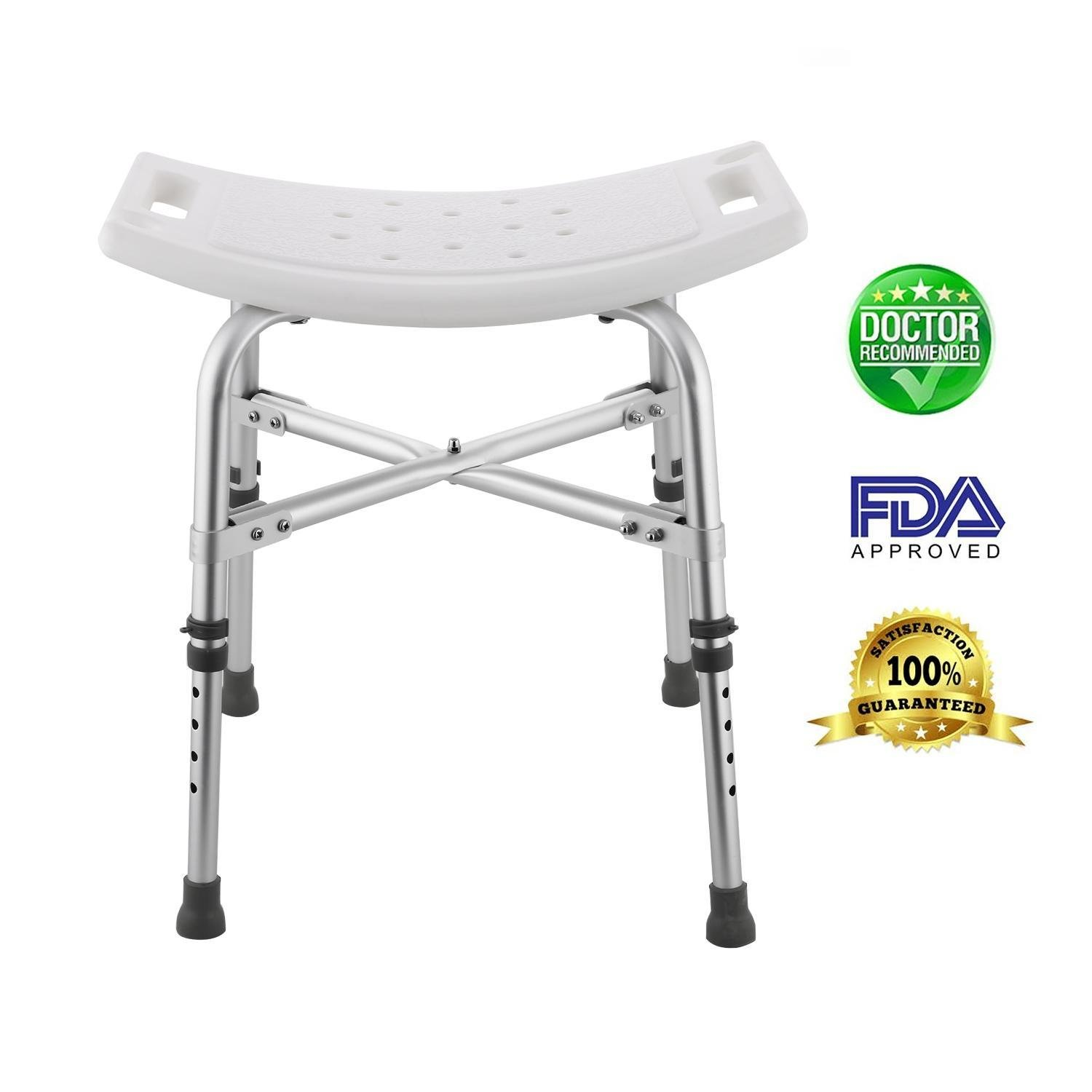 Vividy Height Adjustable Sturdy Aluminium Shower Stool Seat Bathroom Aid, Shower Bench Bath Chair for Elderly, 330 pounds Weigh Capacity (US Stock) (16.4-21.1inch)