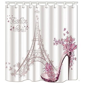 KOTOM Paris France cortinas de ducha, zapatos de tacón alto y flor con la torre Eiffel Tela ...