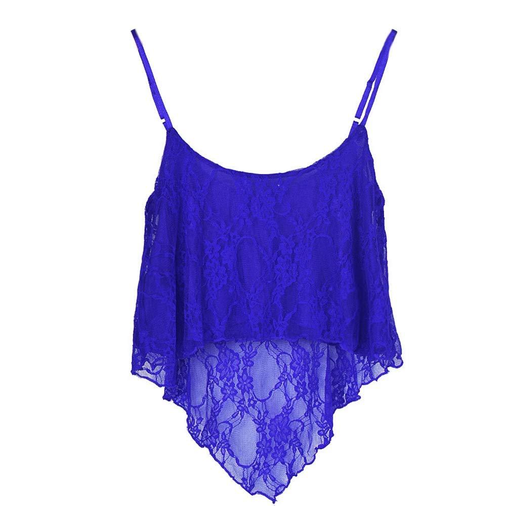 Women Loose Lace Sling Short Top Crop Sleeveless Cami Vest Strapless Blouse T Shirt Shirts Blue