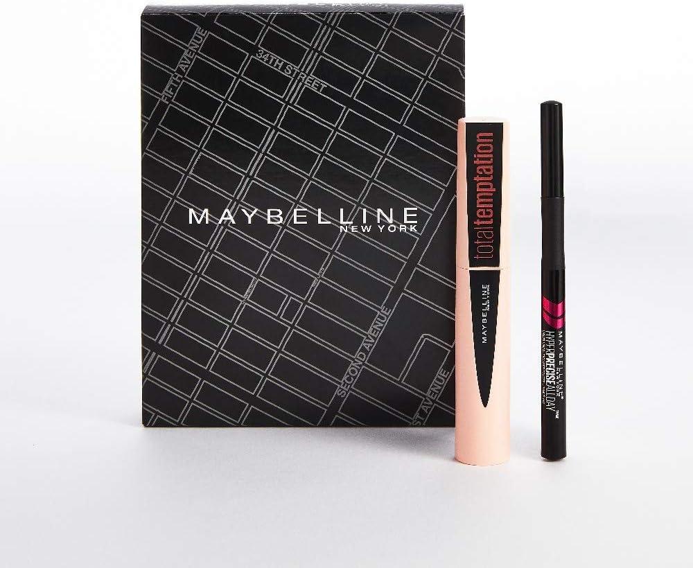 Maybelline New York, Set de Maquillaje para Ojos, Incluye Máscara de Pestañas Total Temptation y Eyeliner Hyper Precise, para Una Mirada con más ...