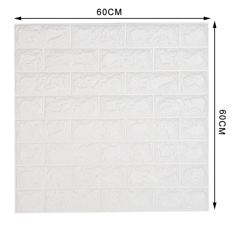 Stickers Muraux 3d Brique NHsunray Papier Peint Brique PE Mousse non Toxique Odeur Sans Auto-adh/ésif Mural DIY Decal Panneau de Couverture pour Chambre S/éjour 20PCS 60 x60 cm, Blanc
