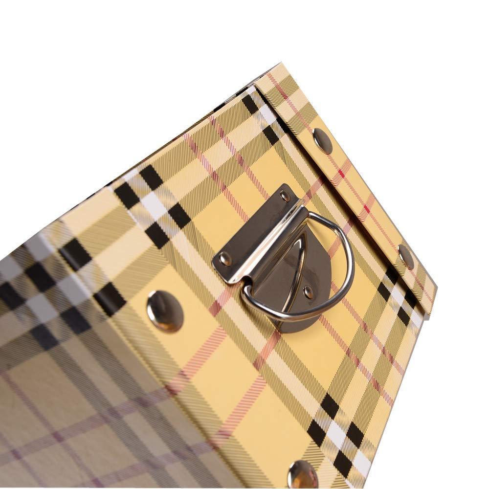 Guozi Contenitore Decorativo Pieghevole con Coperchio e Manici in Metallo 30 * 20 * 15cm Angoli rinforzati in Metallo 2 PCS Black