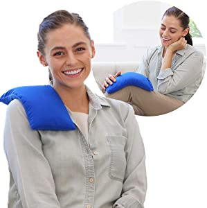 My Heating Pad Microwavable for Pain Relief   Moist Heat Pad for Cramps, Muscles, Joints, Back, Neck and Shoulders   Microwave Hot Pack   Weighted Heat Compress Pillow   Hot Cold Therapy - Blue