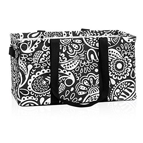 Thirty One Deluxe Utility Tote in Black Playful Parade - 444