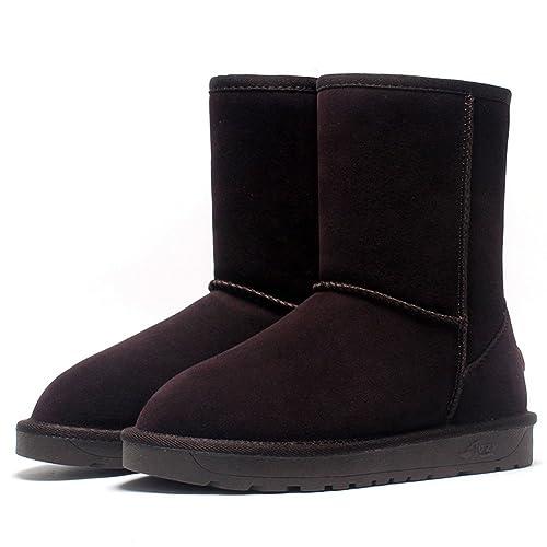 85470249142 Fexkean Femme Chaussures de Neige Bottes Hiver Cuir Boots Fourrées Fourrure Bottines  Bottes(5825Dark Brown35
