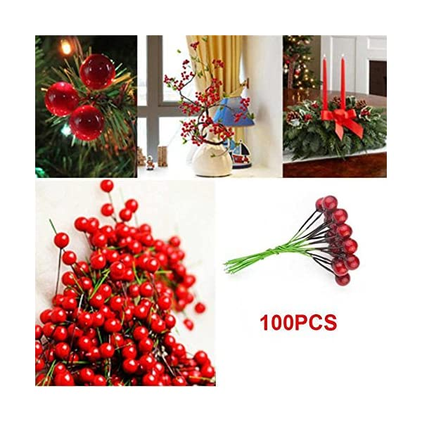 Fangfang-100pcs-Xmas-Christmas-Red-Fruit-Berry-Holly-Artificial-Flower-Pick-Home-Decor