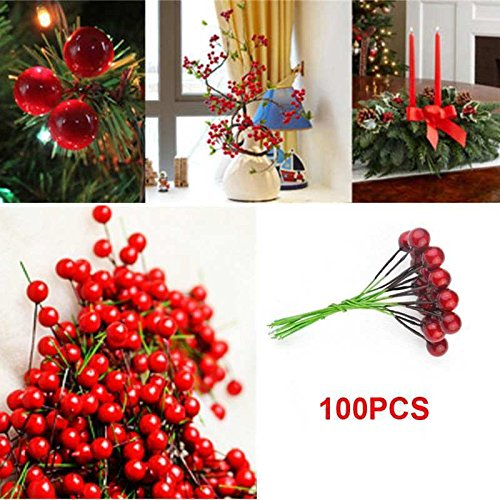 Fangfang 100pcs Xmas Christmas Red Fruit Berry Holly Artificial Flower Pick Home Decor Christmas Floral