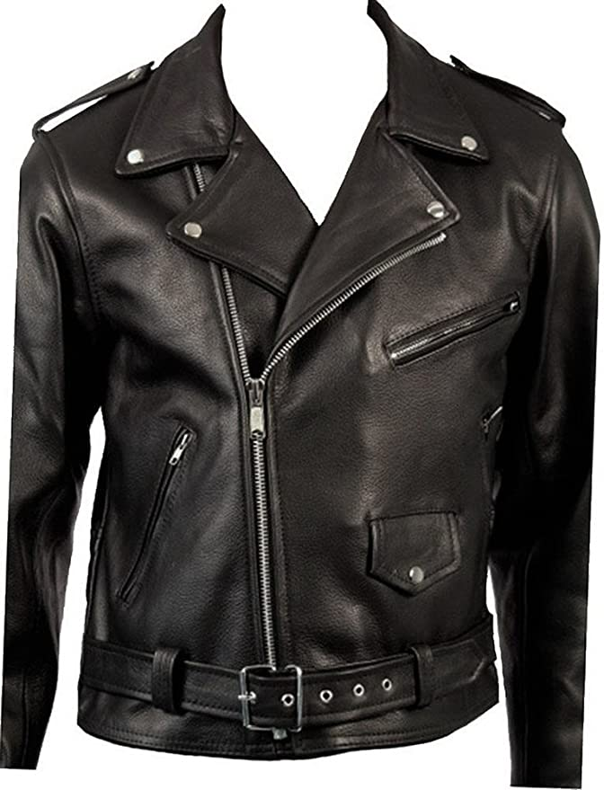 50s Costumes | 50s Halloween Costumes Cow Hide Mens Classic Retro Black Real Leather Brando Motorcycle Biker Jacket $139.99 AT vintagedancer.com