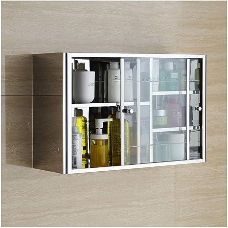 Enjoy4Clean- Acero inoxidable armarios de baño Muebles de Cocina Armario de pared Armarios de puertas corredizas Balcón gabinetes de almacenaje con puertas corredizas de vidrio laminado de estantes aj: Amazon.es: Hogar