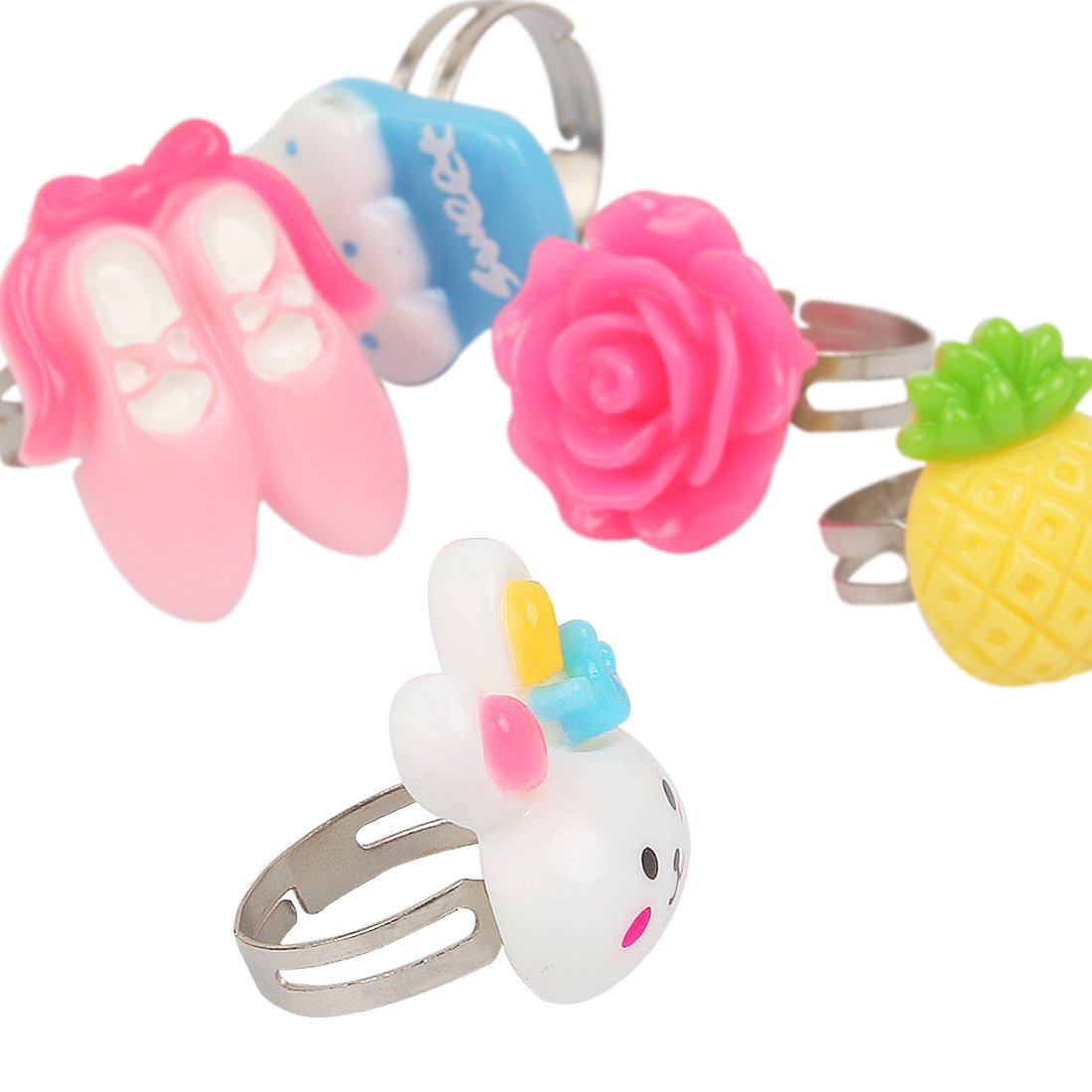 kilofly 6 Sets Princess Party Favors Girls Jewelry Rings Elastic Bracelets Pack by kilofly (Image #3)