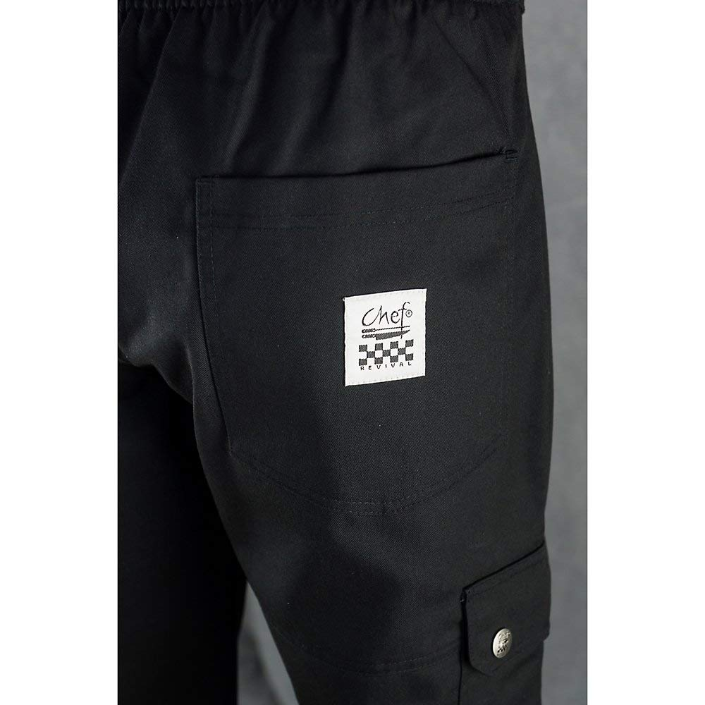 Black Chef Revival LP002BK Poly Cotton Ladies Cargo Pant with 2 Rear and 2 Side Pockets 2X-Large
