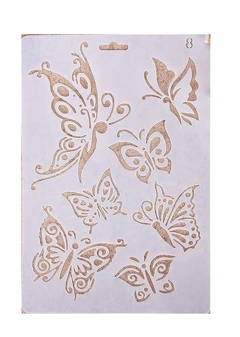 Plantillas con diferentes patrones para pintar con aerógrafo, para manualidades y decoración, de Teabelle