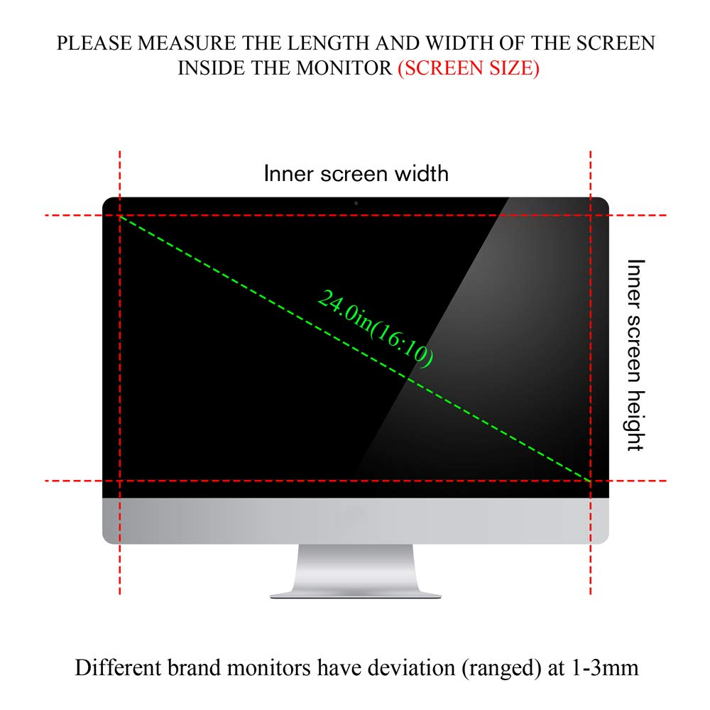 Ovimir 24 Inch (Diagonally Measured) Computer Privacy Screen Filter, [16:10 Aspect Ratio] for Widescreen Monitors Anti-Glare - Anti-Scratch Screen Protector by Ovimir (Image #8)