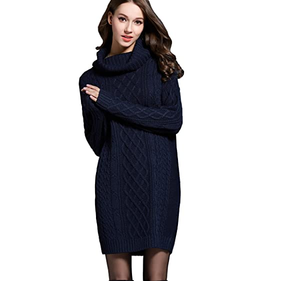 Womens Cowl Neck Cable Knit Long Sleeve Knitwear Tunic Sweater
