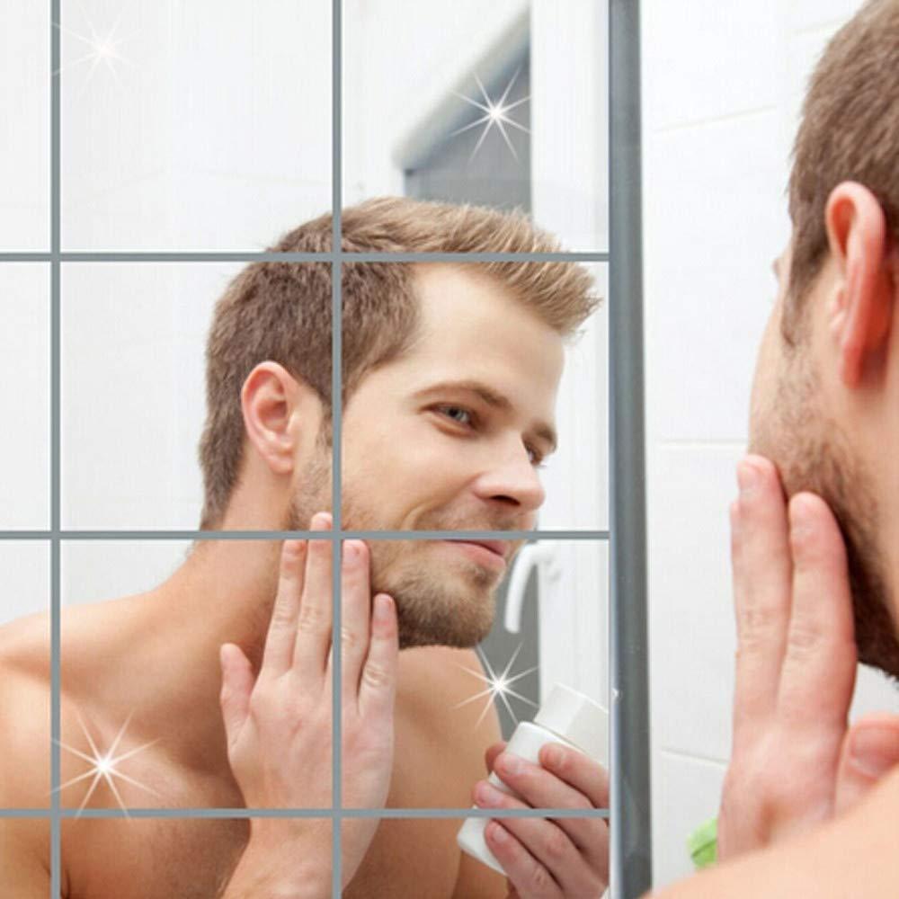 Anti-Fog Shower Mirror Pgojuni Portable Anti Fog Shower Mirror Bathroom Fogless Fog Free Mirror Washroom Travel (B 15X15cm 9pc wall sticker)