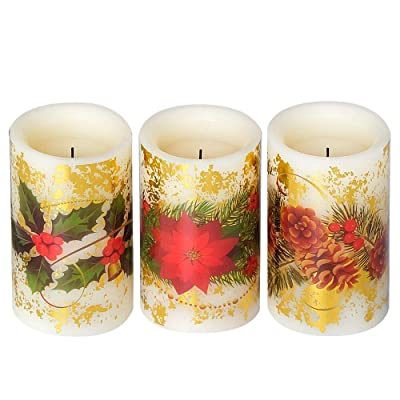 """Eldnacele Flameless Flickering LED Candles Gold Foil with 5-Hour Timer, Set of 3 Battery Operated Pillar Wax Unscented Candles Assorted Decals of Berries, Flower & Pine Cone(D3"""" x H5""""): Home Improvement"""