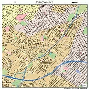 Amazon.com: Large Street & Road Map of Irvington, New ...