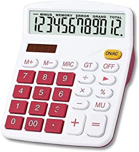 Meichoon Desktop Calculator Solar Battery Dual Power, 12 Digit Large LCD Display Financial Dedicated Calculator Large Standard Function Desktop Business Calculator for Office/Home/School KA08 Red