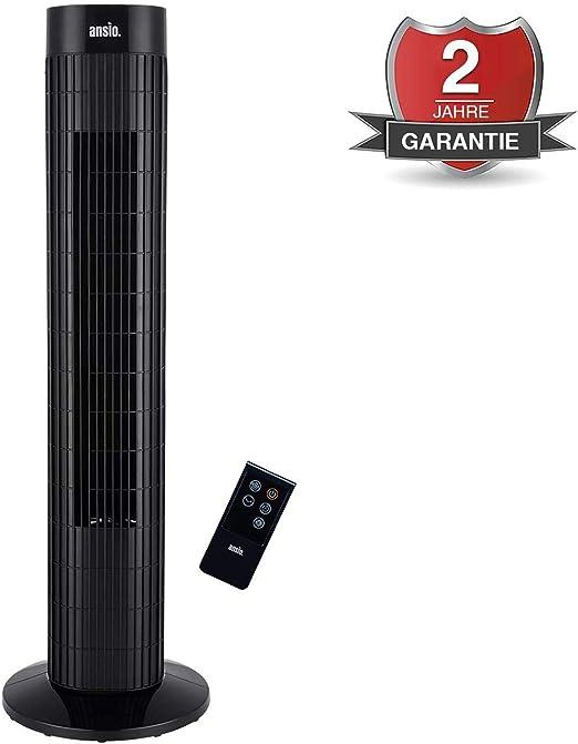 ANSIO Ventilador de Torre oscilante de 30 Pulgadas (76,2 cm) con Mando a Distancia, 3 velocidades, 3 Modos de Viento y Cable Largo de 1,75 m.-Negro (Pilas NO Incluidas) 2 años de garantía: Amazon.es: Hogar