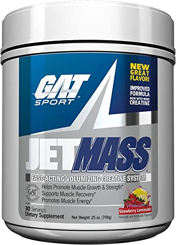 GAT Sport JetMass Fast-Acting Volumizing Creatine System, Strawberry Lemonade, 30 Servings