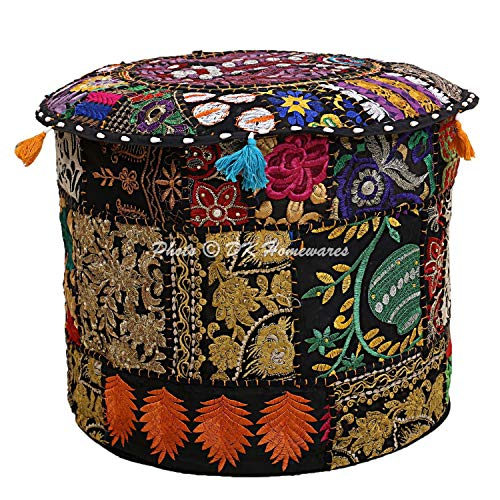 DK Homewares Indian Vintage Patchwork Pouffe Footstool Black Round Foot Stool Decorative Tuffet Cotton Embroidered Hassock Pouf Ottoman Cover Floral Traditional 22x22x14 ()