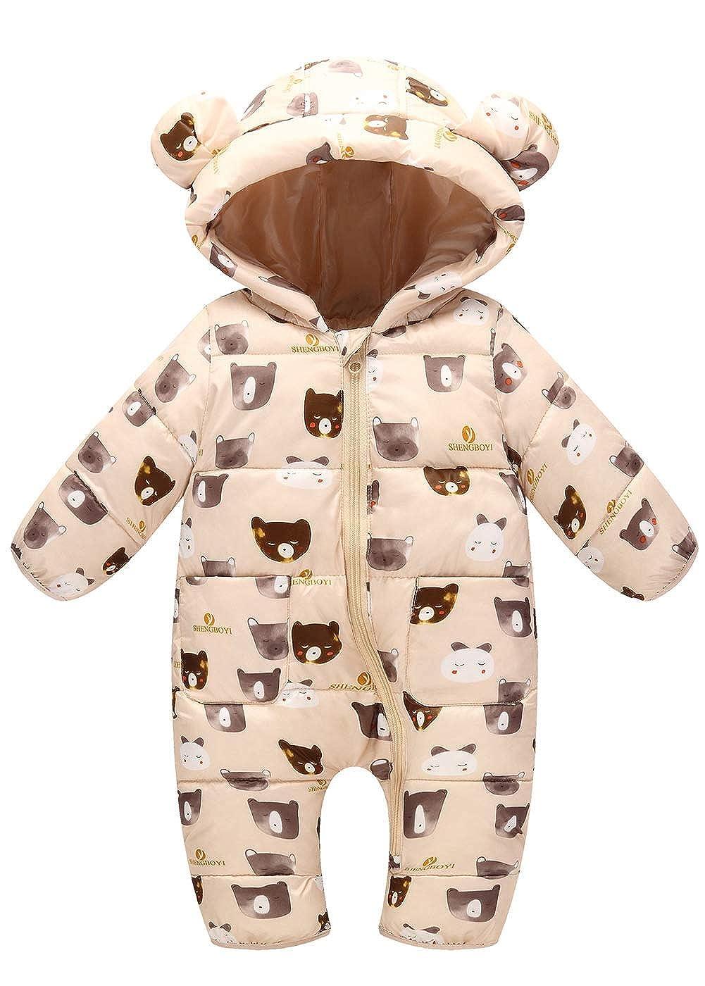 Happy Cherry Baby's Winter Hooded Bodysuit Warm Snowsuit Jumpsuit 0-24 Months