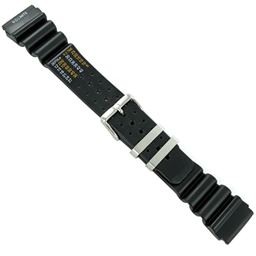 acd6c24ea15 24mm Black Rubber Waterproof Diver Watch Band Strap with N.D. Limits EXTRA  LONG