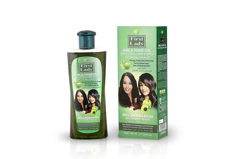 First Lady Herbal (ayurvedica) Amla (Uva Spina) indiano capelli olio 300ml–per capelli, forte, lucido scuro–con Shikakai e Reetha–per tutti i tipi di capelli