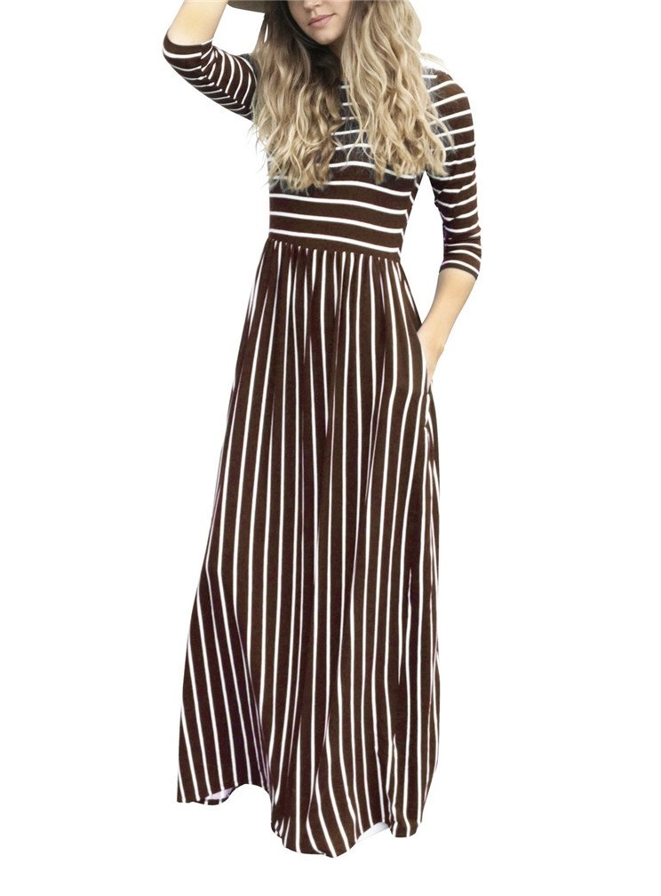 LeaLac Women Summer Fashion Cotton 3/4 Sleeve Striped Casual Loose Maxi Dresses Elastic Waist Tunic Long T-Shirt Dress with Pocket L63-D6494 Brown M