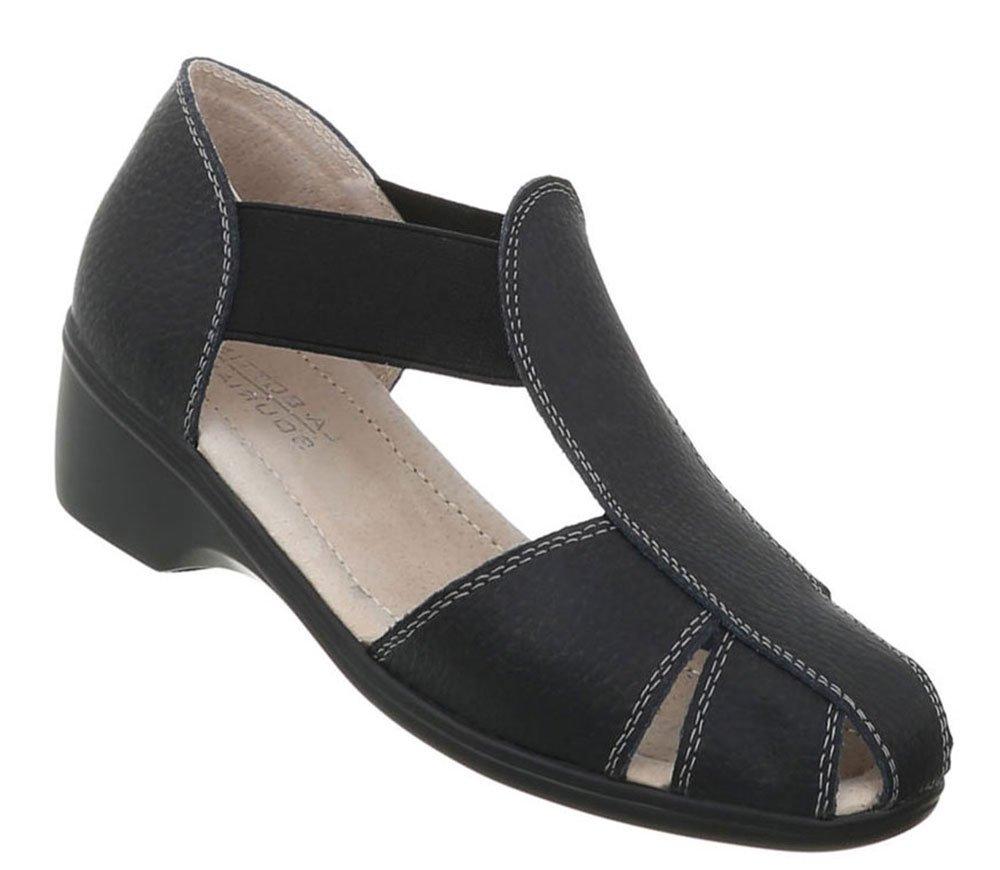 Damen Schuhe Sandalen Leder Pumps41 EU|Schwarz