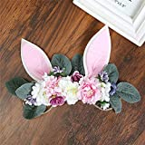 Carto Girl Rabbit Ears Rose Peony Wreath Grass Rope Braided Hair Band Crown Artificial Flower Head Flower Head Flower Decoration D