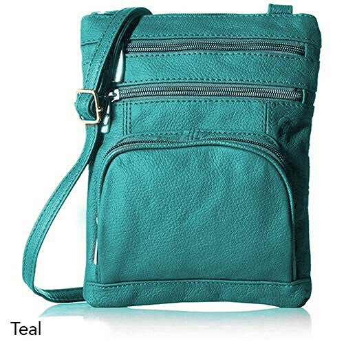 Leather with Crossbody Handbags Leather Teal Genuine Leather Handbags for Women Small Soft OqCdqw
