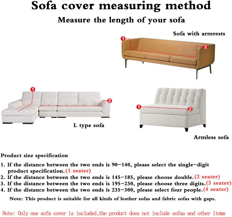 1 seat:90-140 cm ,1seater Elastic Sofa Covers 1-Piece Polyester Spandex Fabric Stretch Slipcovers Full Cover Sofa Set Furniture Protector Couch Cover Sofa,1,2,3,4 Seater