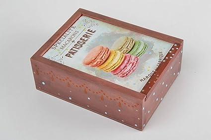 Caja para te de madera hecha a mano decorada de decoupage original estilosa