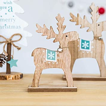 Amazon.com: Kimanli – Adornos de madera de Navidad para ...